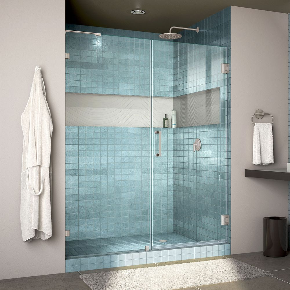 DreamLine Unidoor Lux 53 inch W x 72 inch H Fully Frameless Shower Door with L-Bar in Brushed Nickel