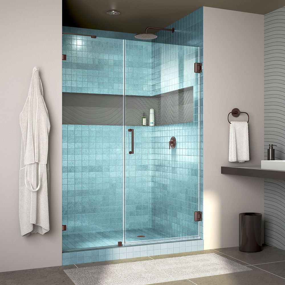 DreamLine Unidoor Lux 48 inch W x 72 inch H Fully Frameless Shower Door with L-Bar in Oil Rubbed Bronze