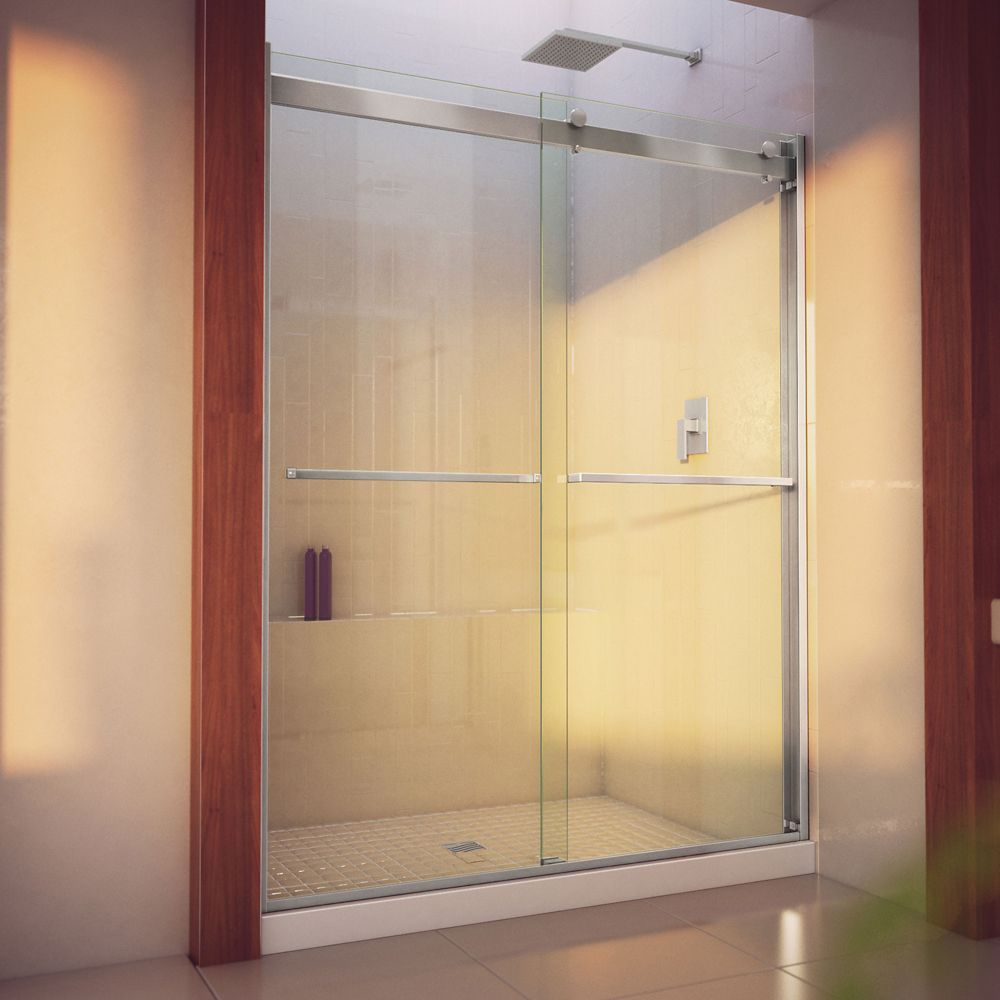 DreamLine Essence-H 56-60 inch W x 76 inch H Frameless Bypass Shower Door in Brushed Nickel