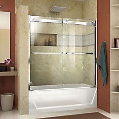 Essence-H 56-60 inch W x 60 inch H Frameless Bypass Tub Door in Chrome