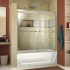 Essence-H 56-60 inch W x 60 inch H Frameless Bypass Tub Door in Brushed Nickel