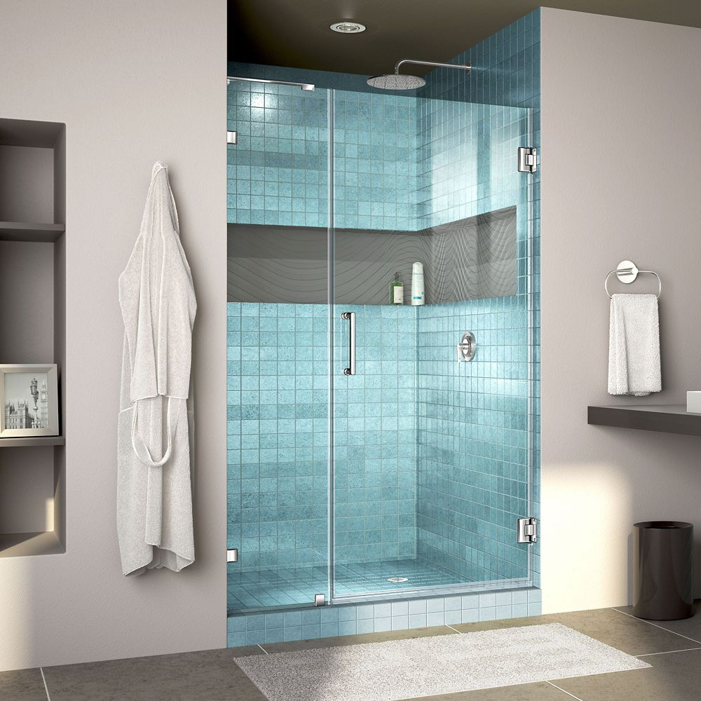 DreamLine Unidoor Lux 41 inch W x 72 inch H Fully Frameless Hinged Shower Door with L-Bar in Chrome