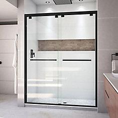 Encore 56-60 inch W x 76 inch H Semi-Frameless Bypass Shower Door in Satin Black