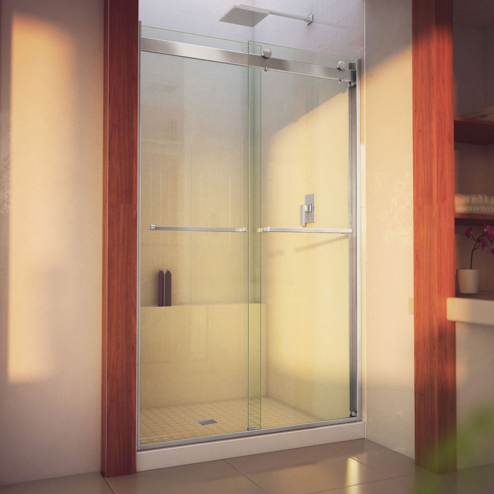 DreamLine Essence-H 44-48 inch W x 76 inch H Frameless Bypass Shower Door in Brushed Nickel