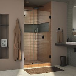 DreamLine Unidoor Lux 38 inch W x 72 inch H Fully Frameless Shower Door with Support Arm in Satin Black
