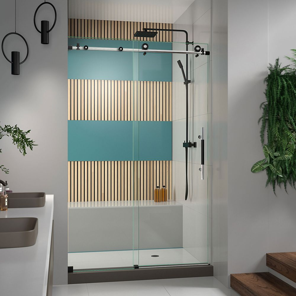 DreamLine Enigma-XT 44-48 inch W x 76 inch H Fully Frameless Sliding Shower Door in Tuxedo Finish