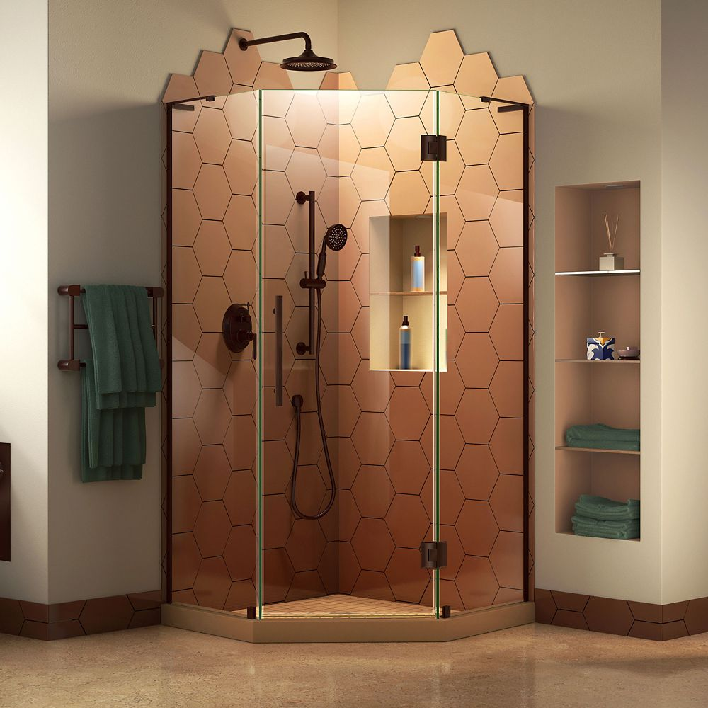 DreamLine Prism Plus 38 inch D x 38 inch W x 72 inch H Frameless Shower Enclosure in Oil Rubbed Bronze
