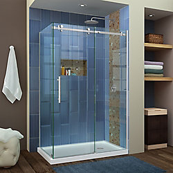 Enigma Air 34 3/4 inch D x 48 3/8 inch W x 76 inch H Shower Enclosure in Brushed Stainless Steel