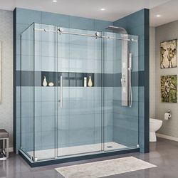DreamLine Enigma-X 34 1/2 inch D x 72 3/8 inch W x 76 inch H Sliding Shower Enclosure in Polished Steel