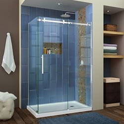 DreamLine Enigma Air 34 3/4 inch D x 48 3/8 inch W x 76 inch H Shower Enclosure in Polished Stainless Steel