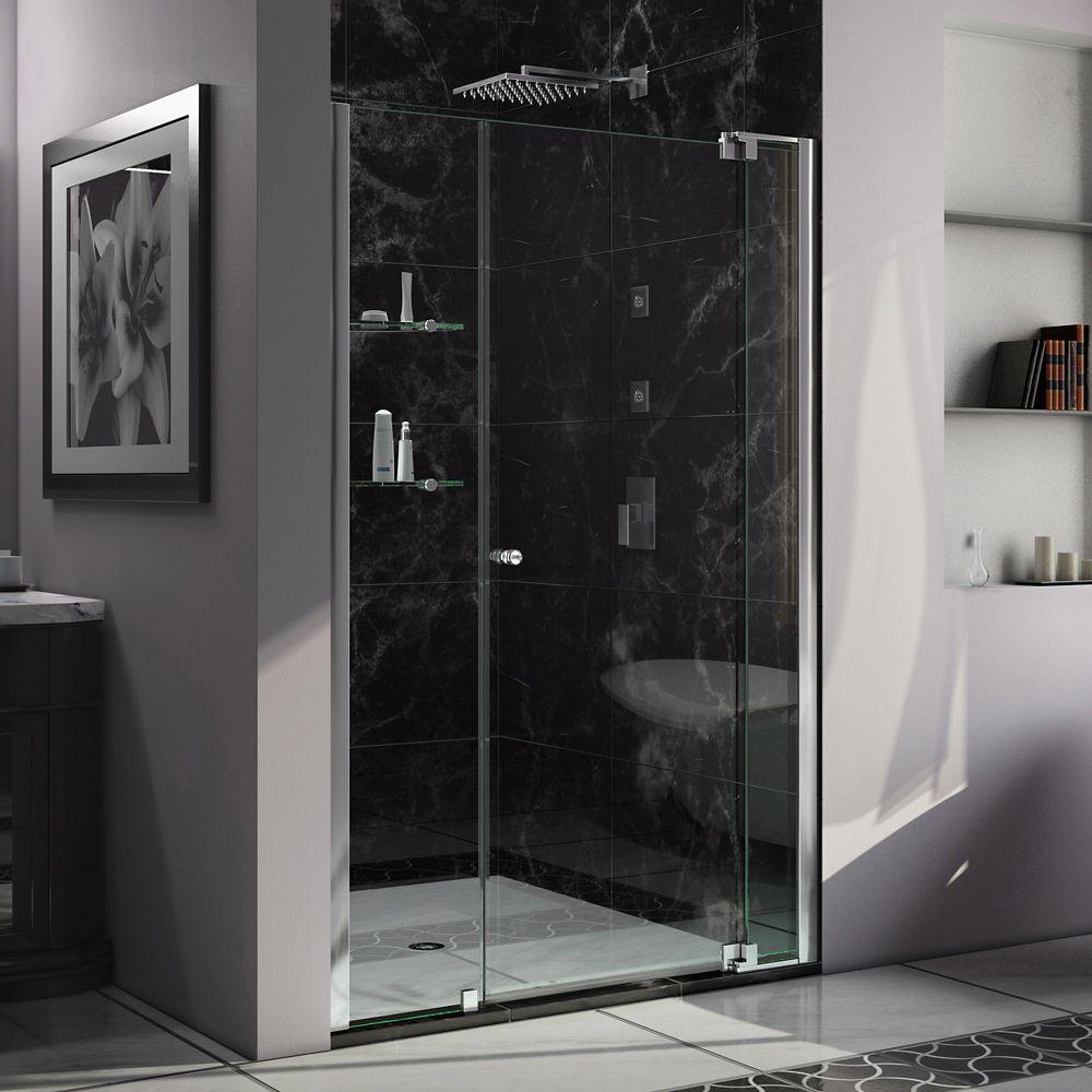 DreamLine Allure 53-54 inch W x 73 inch H Frameless Pivot Shower Door in Chrome