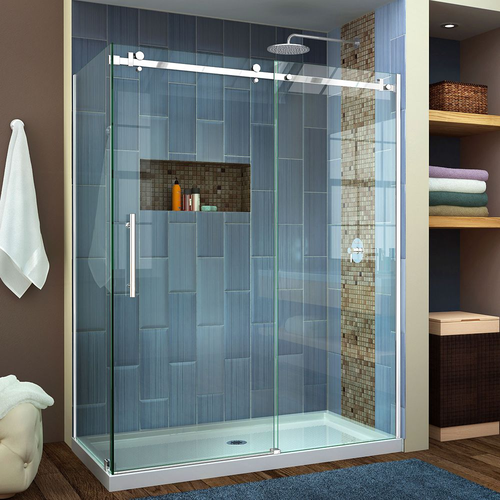 DreamLine Enigma Air 34 3/4 inch D x 60 3/8 inch W x 76 inch H Shower Enclosure in Polished Stainless Steel