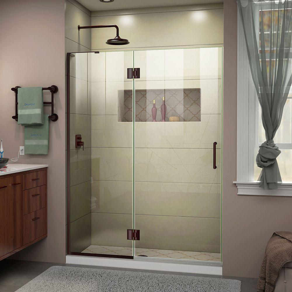 DreamLine Unidoor-X 48 inch W x 72 inch H Frameless Hinged Shower Door in Oil Rubbed Bronze