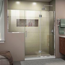 DreamLine Unidoor-X 71-71 1/2 inch W x 72 inch Frameless Hinged Shower Door in Chrome Finish