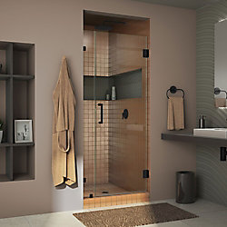 DreamLine Unidoor Lux 31 inch W x 72 inch H Fully Frameless Hinged Shower Door in Satin Black