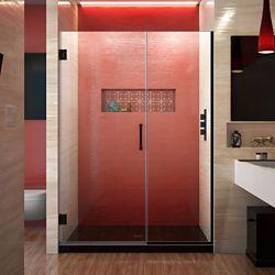 DreamLine Unidoor Plus 48-48 1/2 inch W x 72 inch H Frameless Shower Door, Clear Glass, Satin Black