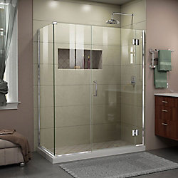 Unidoor-X 46 inch W x 30 3/8 inch D x 72 inch H Frameless Hinged Shower Enclosure in Chrome