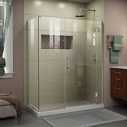 Unidoor-X 46 inch W x 30 3/8 inch D x 72 inch H Frameless Shower Enclosure in Brushed Nickel