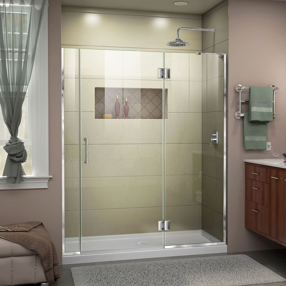 DreamLine Unidoor-X 60-60 1/2 inch W x 72 inch Frameless Hinged Shower Door in Chrome