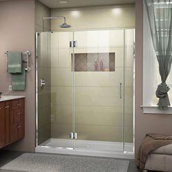 DreamLine Unidoor-X 60-60 1/2 inch W x 72 inch H Frameless Shower Door in Chrome