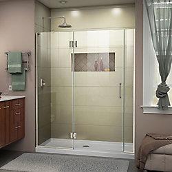 DreamLine Unidoor-X 55-55 1/2 inch W x 72 inch H Frameless Shower Door in Brushed Nickel