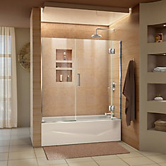 Unidoor-X 58-58 1/2 inch W x 58 inch H Frameless Hinged Tub Door in Chrome
