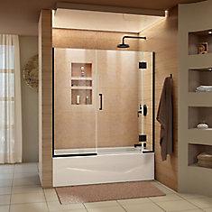 Unidoor-X 58-58 1/2 inch W x 58 inch H Frameless Hinged Tub Door in Satin Black