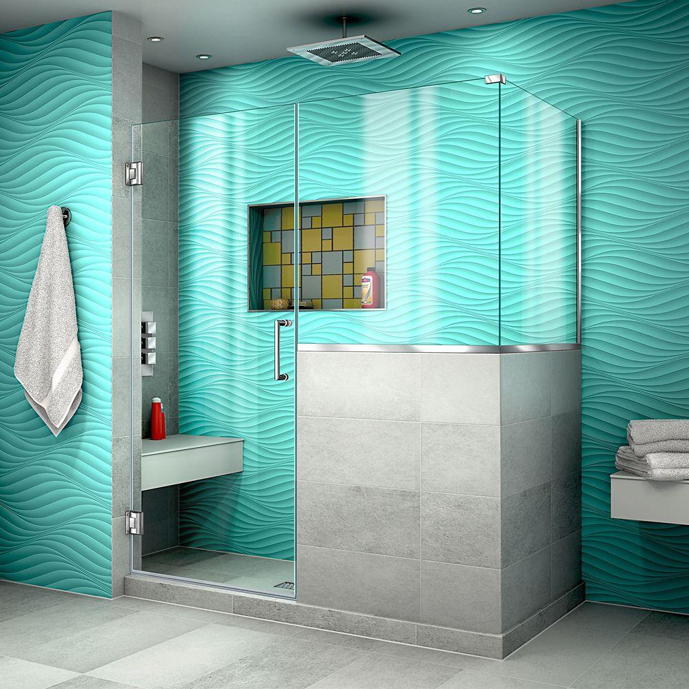 DreamLine Unidoor Plus 53 inch W x 36.375 inch D x 72 inch H Shower Enclosure, Clear Glass, Chrome