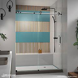 Enigma-XT 56-60 inch W x 76 inch H Fully Frameless Sliding Shower Door in Tuxedo Finish