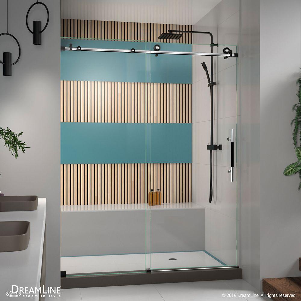 DreamLine Enigma-XT 56-60 inch W x 76 inch H Fully Frameless Sliding Shower Door in Tuxedo Finish