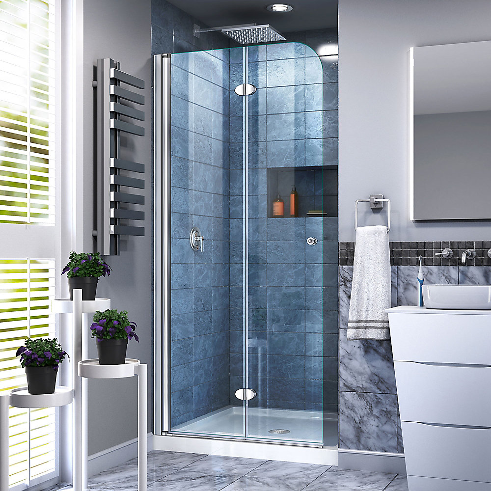 Aqua Fold 29 1/2 inch W x 72 inch H Frameless Bi-Fold Shower Door in Chrome