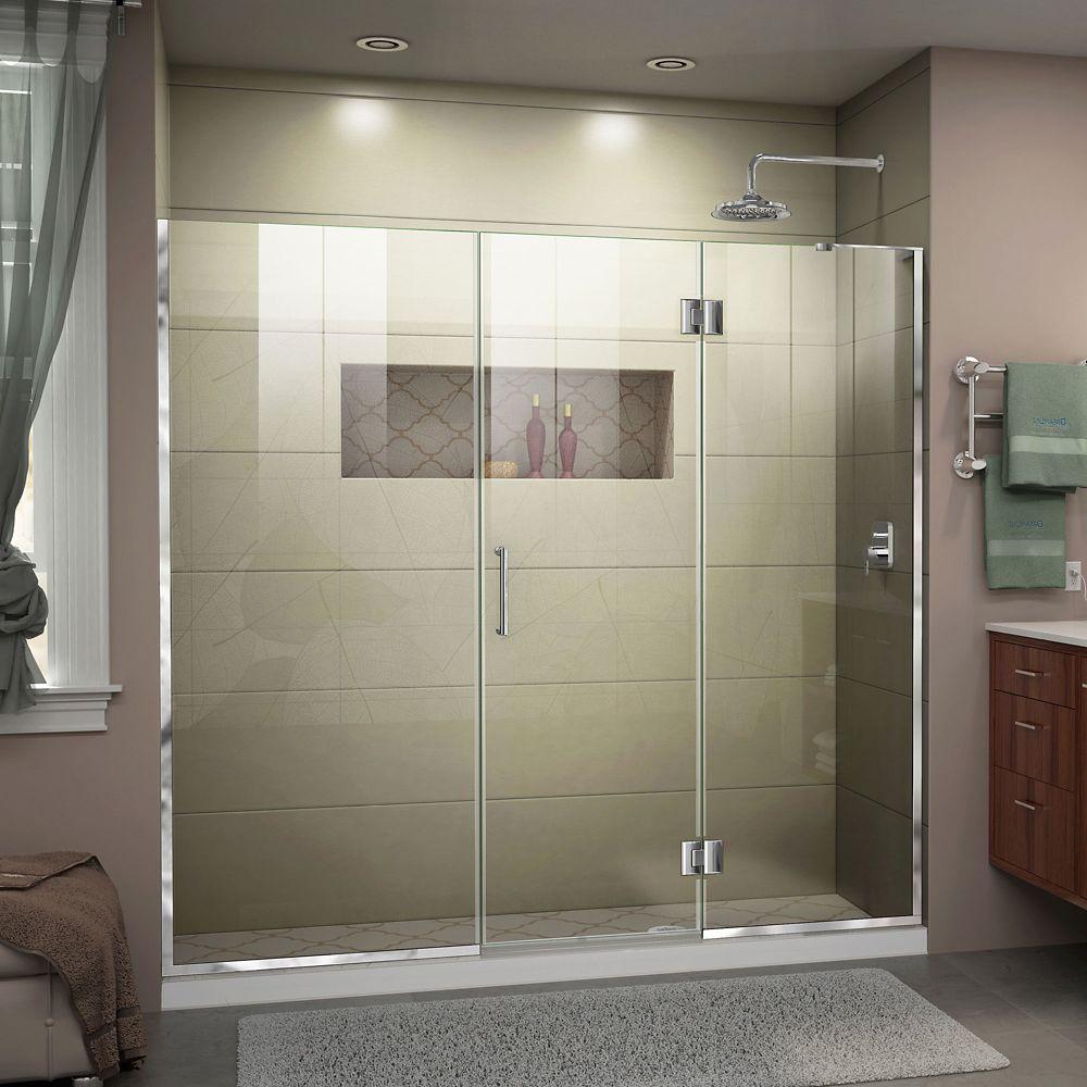 DreamLine Unidoor-X 72 1/2-73 inch W x 72 inch H Frameless Hinged Shower Door in Chrome Finish