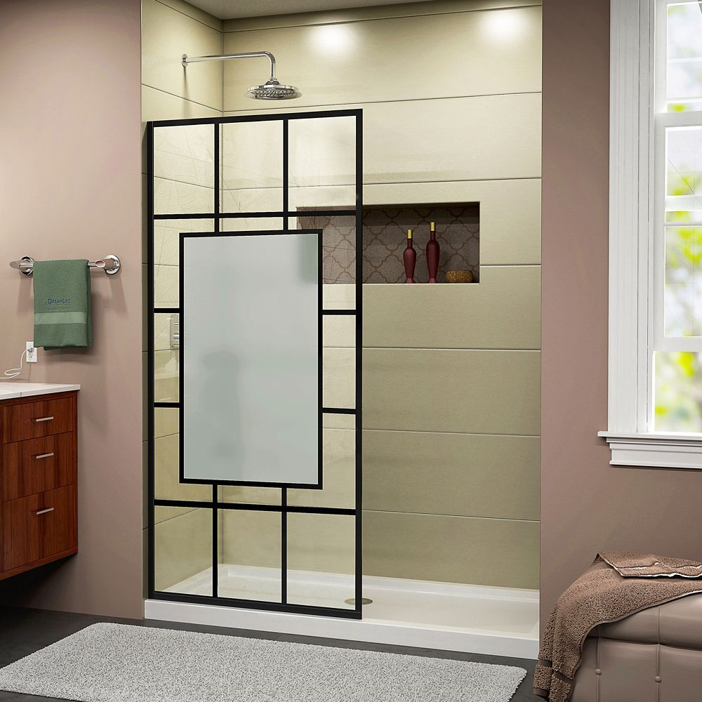 DreamLine French Linea Avignon 34 inch W x 72 inch H Single Panel Shower Door in Satin Black