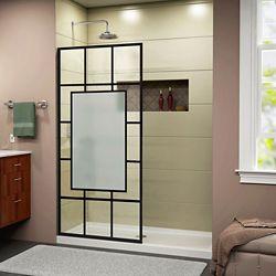 DreamLine French Linea Avignon 34 inch W x 72 inch H Single Panel Shower Door in Satin Black
