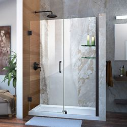 DreamLine Unidoor 53-54 inch W x 72 inch H Frameless Hinged Shower Door with Shelves in Satin Black