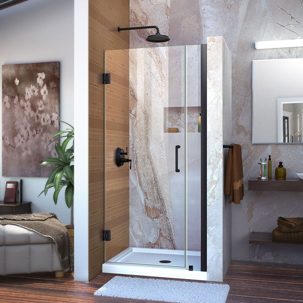 DreamLine Unidoor 33-34 inch W x 72 inch H Frameless Hinged Shower Door, Clear Glass, in Satin Black