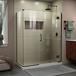 DreamLine Unidoor-X 59 1/2 inch W x 34 3/8 inch D x 72 inch H Shower Enclosure in Oil Rubbed Bronze