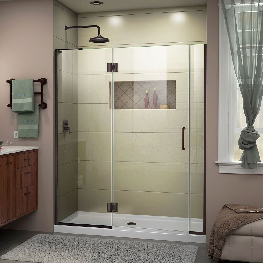 DreamLine Unidoor-X 57-57 1/2 inch W x 72 inch H Frameless Hinged Shower Door in Bronze