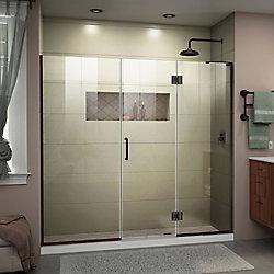 DreamLine Unidoor-X 62 1/2-63 inch W x 72 inch Frameless Hinged Shower Door in Oil Rubbed Bronze