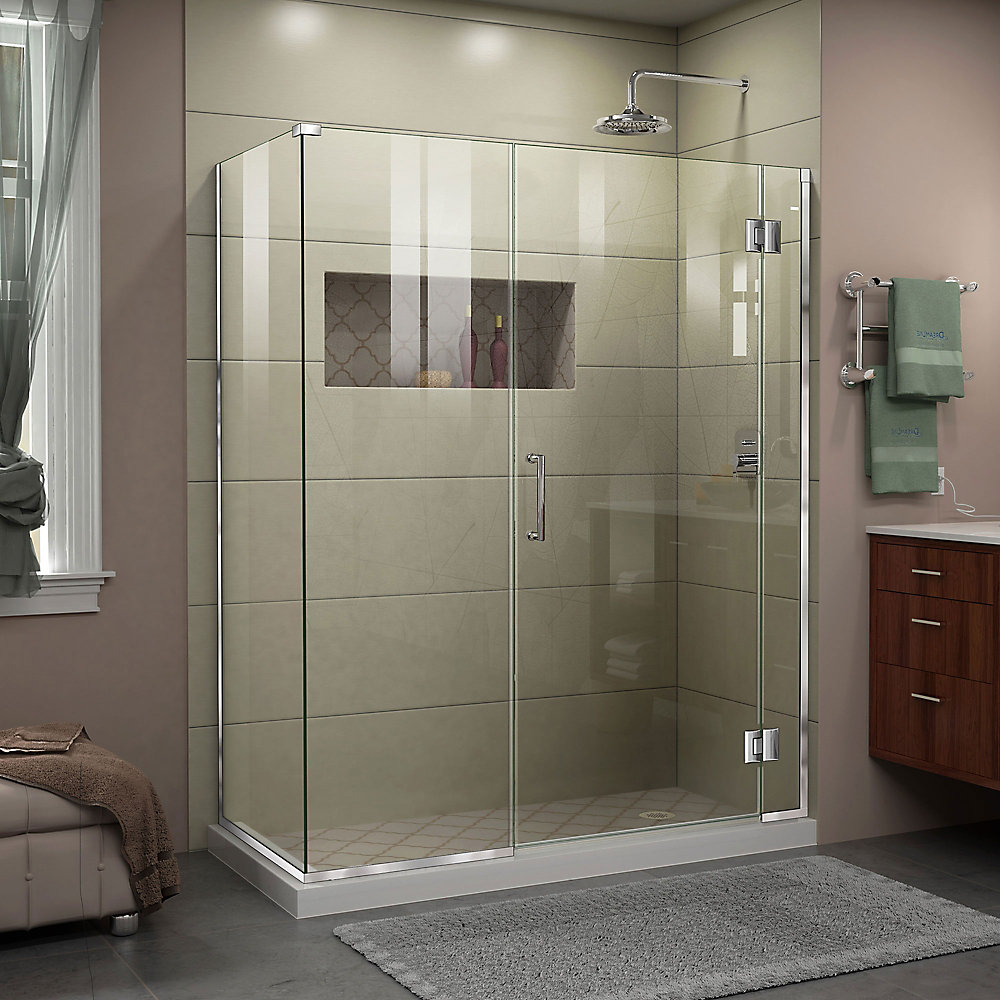 Unidoor-X 45 1/2 inch W x 34 3/8 inch D x 72 inch H Frameless Shower Enclosure in Chrome