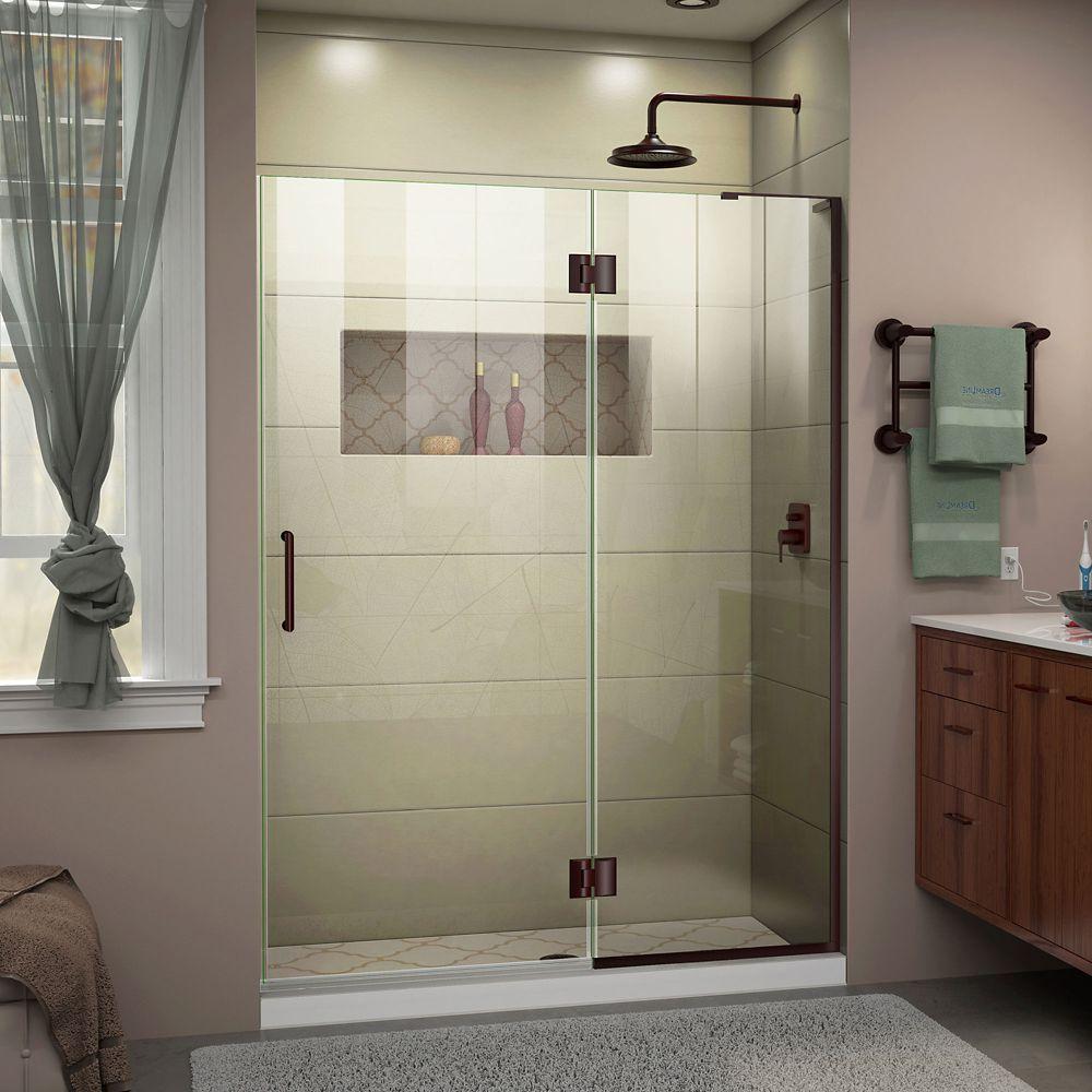 DreamLine Unidoor-X 53 inch W x 72 inch H Frameless Shower Door in Oil Rubbed Bronze