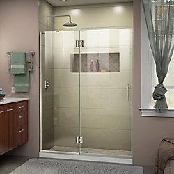 DreamLine Unidoor-X 50 inch W x 72 inch H Frameless Hinged Shower Door in Brushed Nickel
