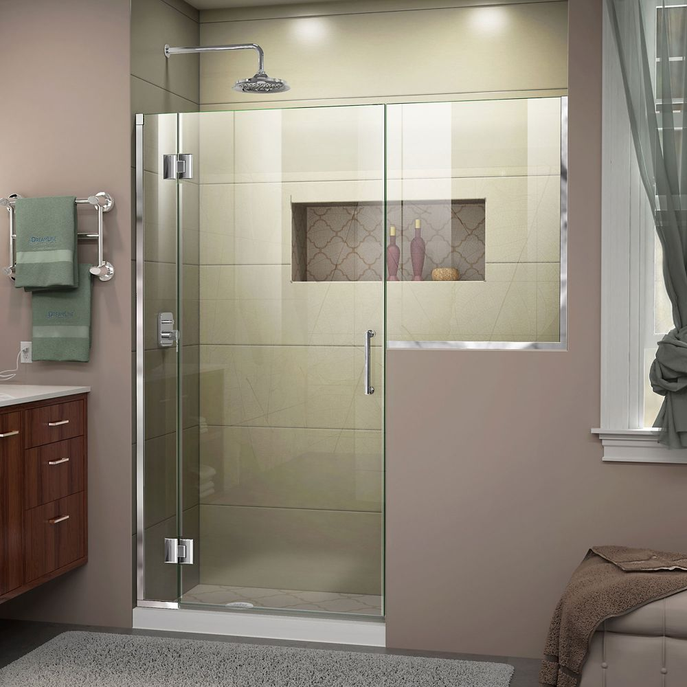 DreamLine Unidoor-X 54-54 1/2 inch W x 72 inch Frameless Hinged Shower Door in Chrome Finish