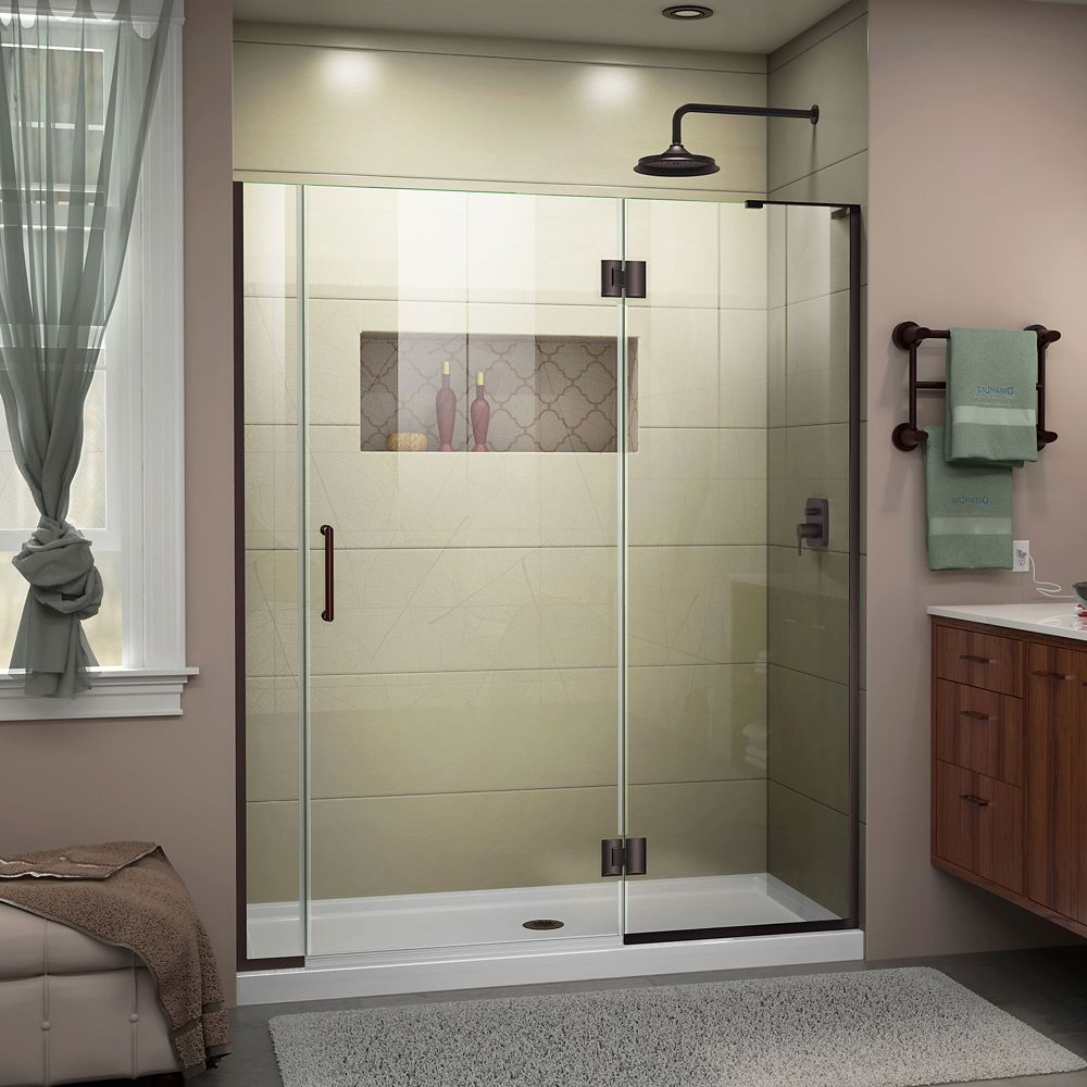 DreamLine Unidoor-X 53 1/2-54 inch W x 72 inch H Frameless Hinged Shower Door in Oil Rubbed Bronze