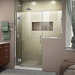 Unidoor-X 58-58 1/2 inch W x 72 inch H Frameless Hinged Shower Door in Chrome