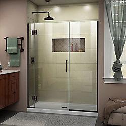 DreamLine Unidoor-X 55 1/2-56 inch W x 72 inch H Frameless Hinged Shower Door in Oil Rubbed Bronze