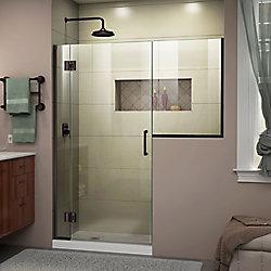 DreamLine Unidoor - X 62 - 62 1/2 inch W x 72 inch H Frameless Hinged Shower Door in Oil Rubbed Bronze Finish