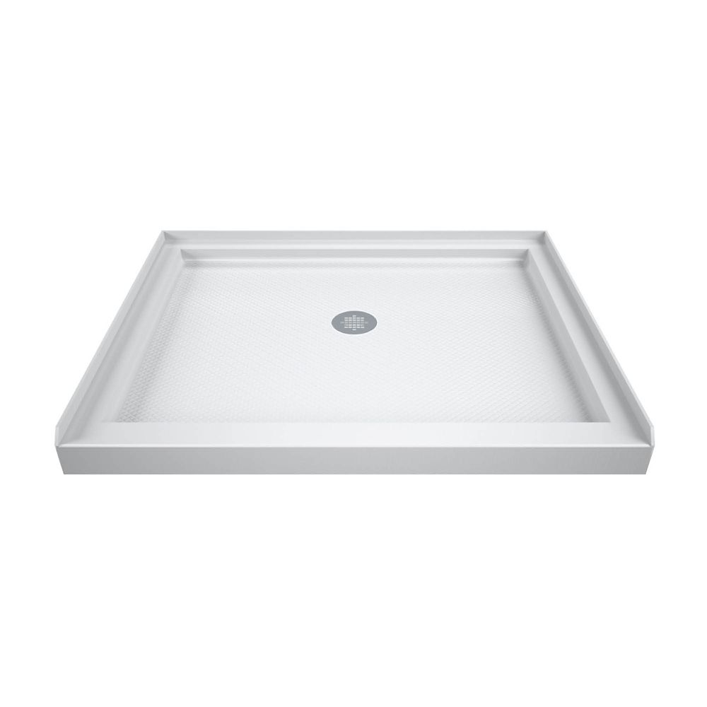 DreamLine SlimLine 42 inch D x 42 inch W x 2 3/4 inch H Center Drain Single Threshold Shower Base in White