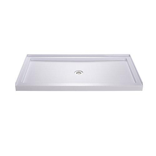 SlimLine 32 inch D x 54 inch W x 2 3/4 inch H Center Drain Single Threshold Shower Base in White