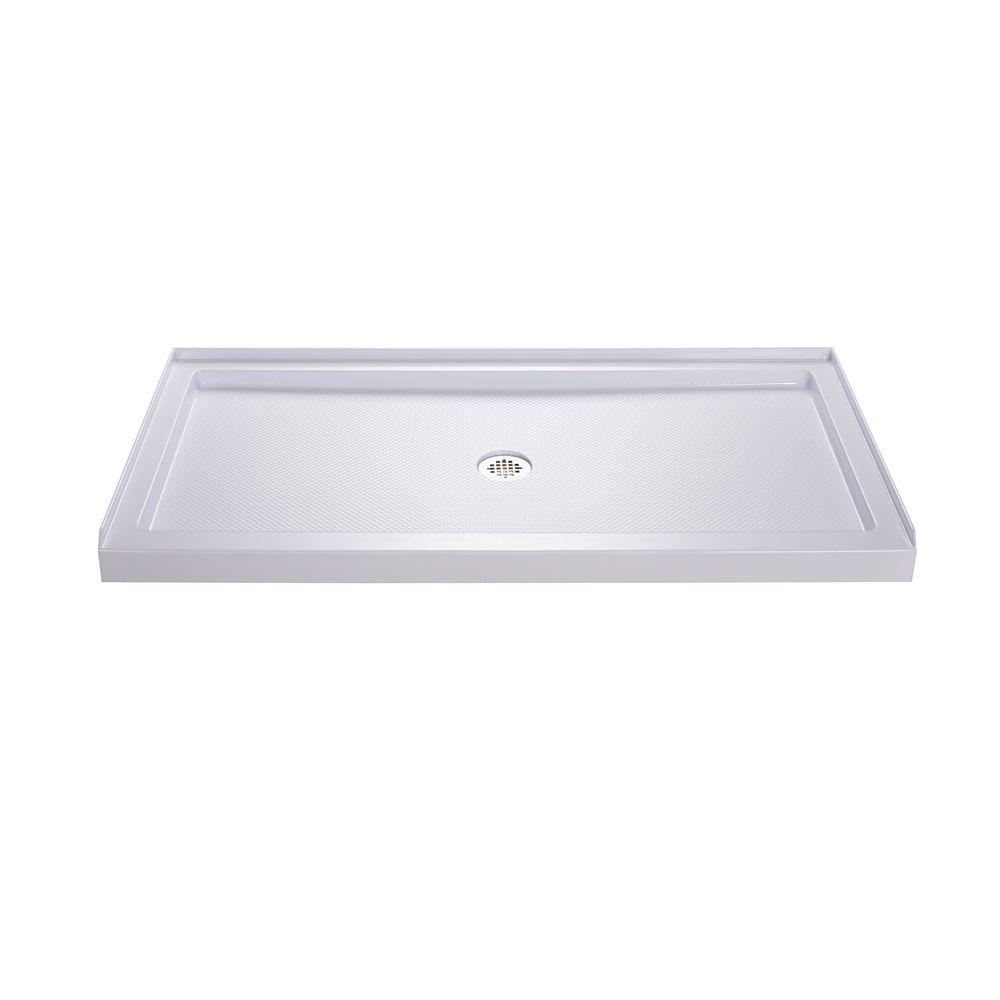 DreamLine SlimLine 32 inch D x 54 inch W x 2 3/4 inch H Center Drain Single Threshold Shower Base in White